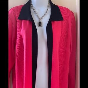 Exclusively Misook Open Front Cardigan